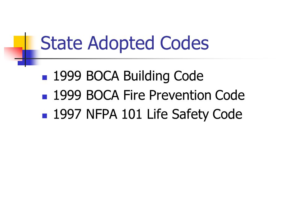 State Adopted Codes 1999 BOCA Building Code