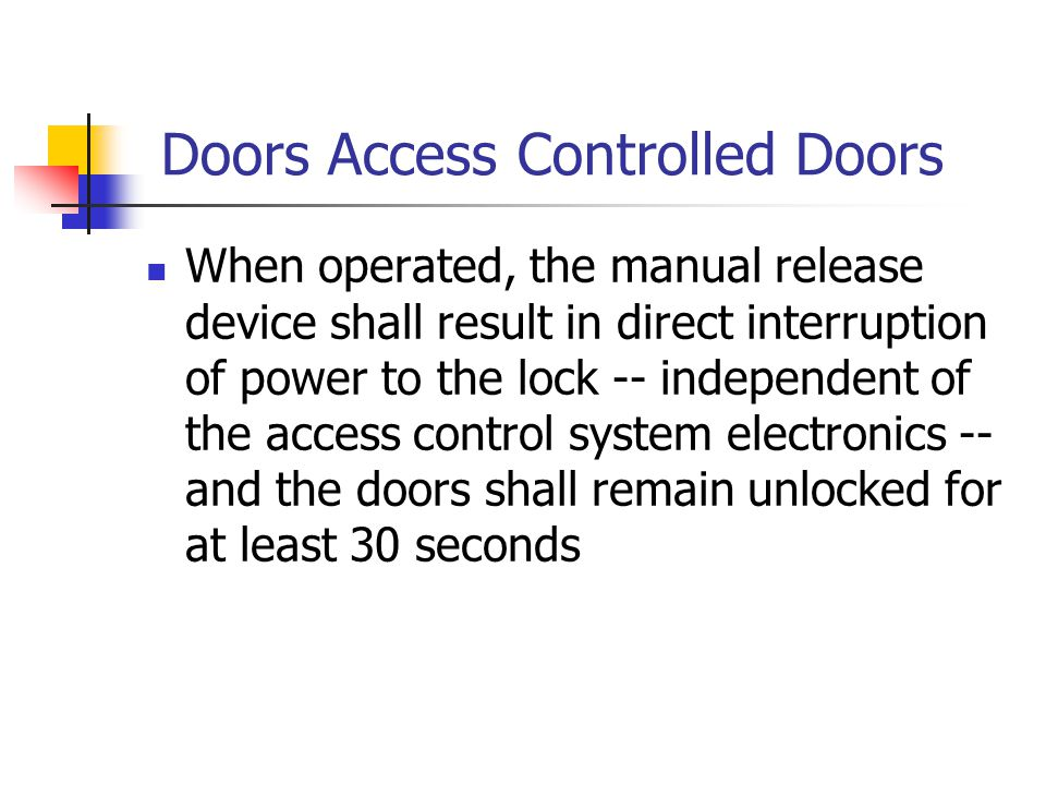 Doors Access Controlled Doors