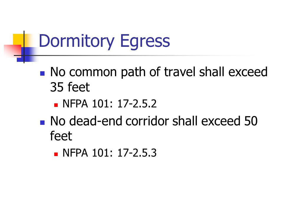 Dormitory Egress No common path of travel shall exceed 35 feet