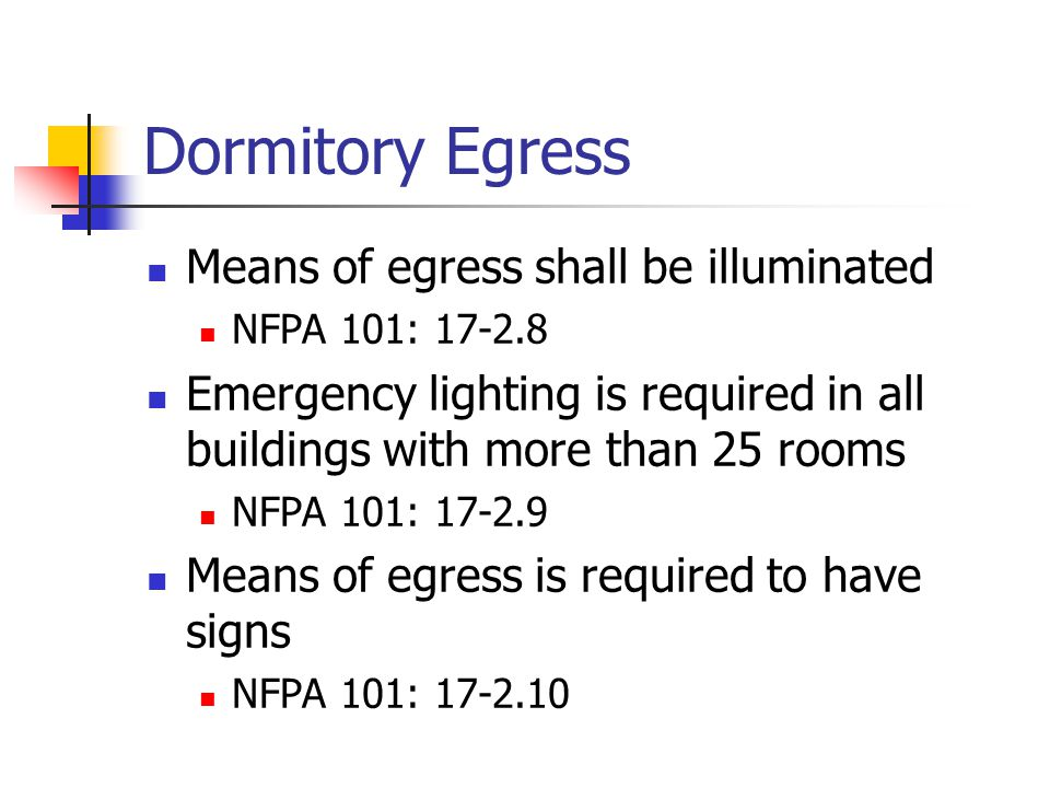 Dormitory Egress Means of egress shall be illuminated