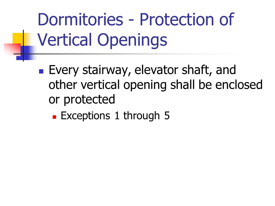 Dormitories - Protection of Vertical Openings