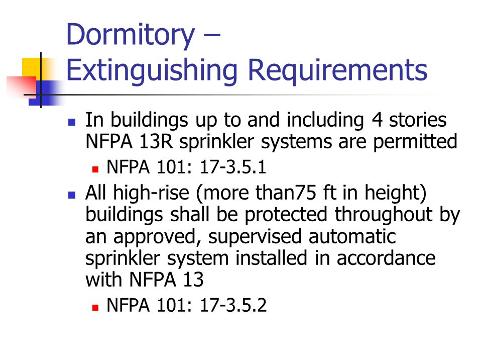 Dormitory – Extinguishing Requirements