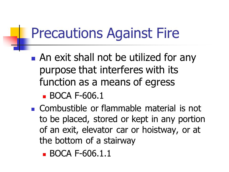 Precautions Against Fire