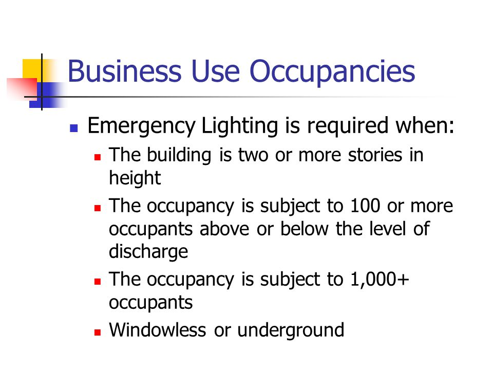 Business Use Occupancies