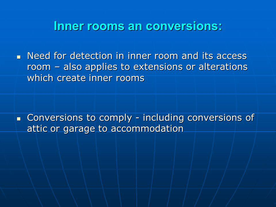 Inner rooms an conversions: