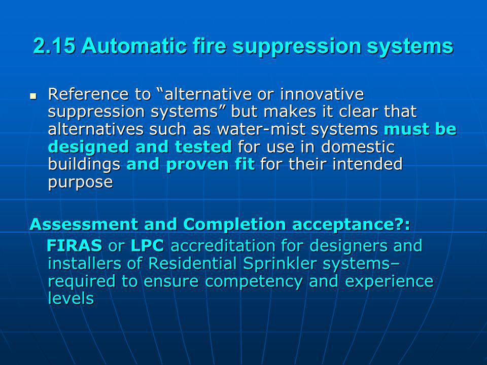 2.15 Automatic fire suppression systems