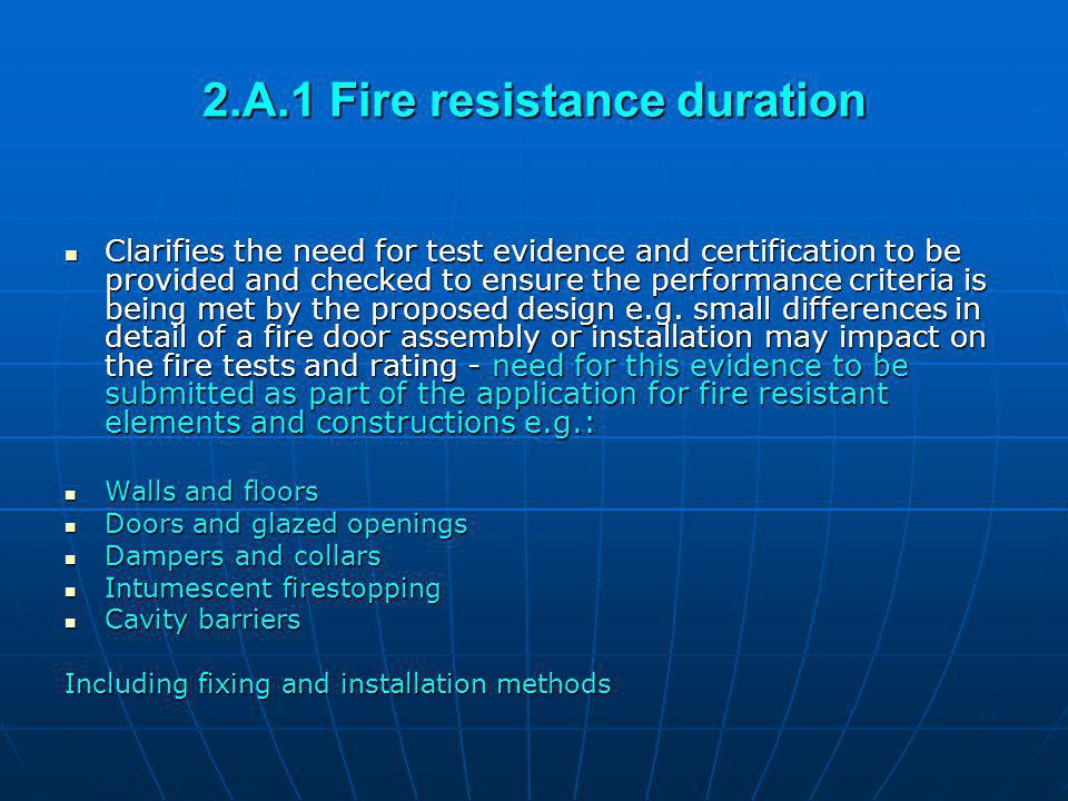 2.A.1 Fire resistance duration
