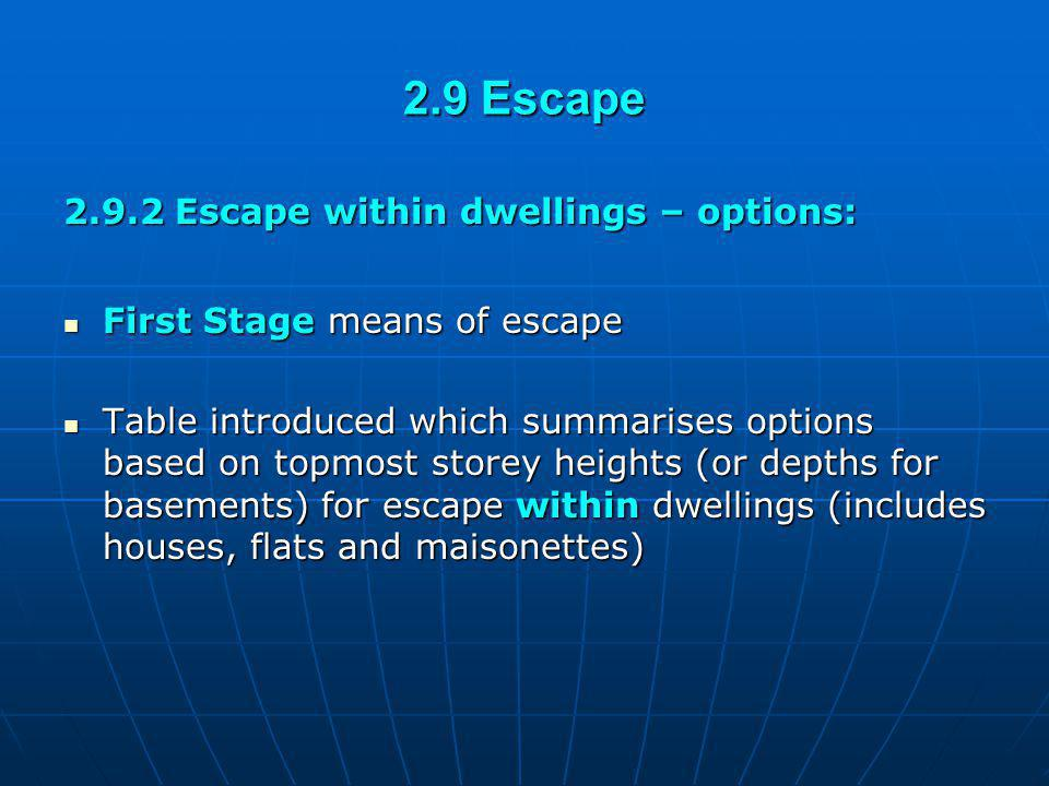 2.9 Escape 2.9.2 Escape within dwellings – options: