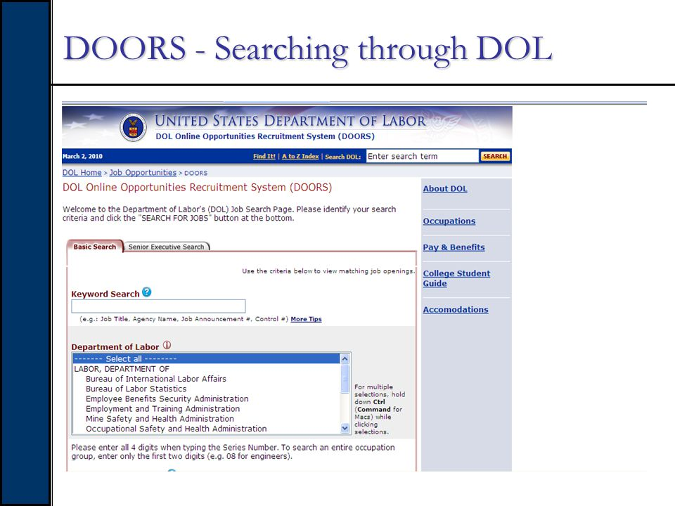 DOORS - Searching for vacant positions