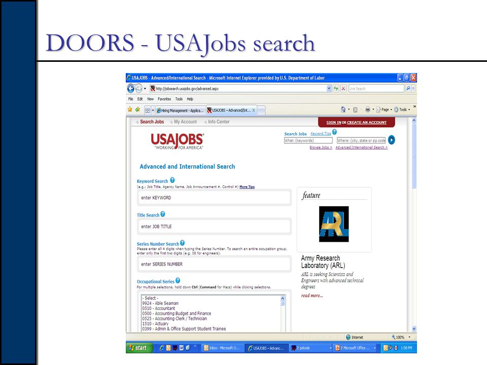 DOORS - Searching through USAJobs…
