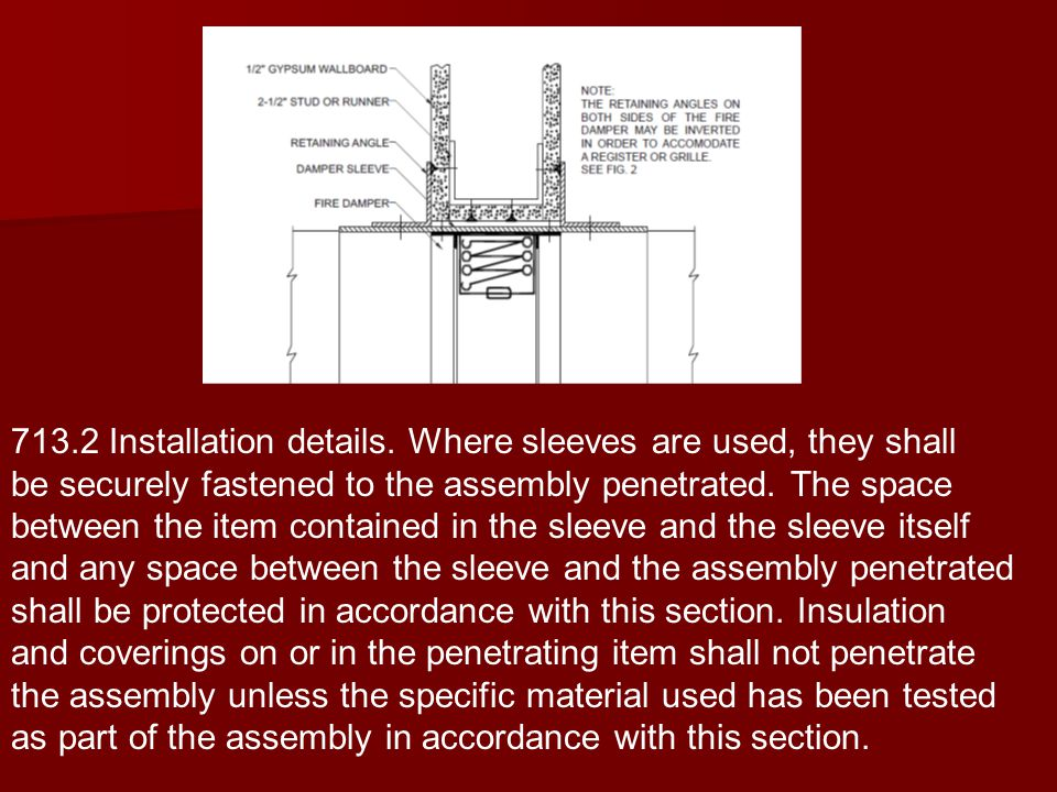 713.2 Installation details. Where sleeves are used, they shall