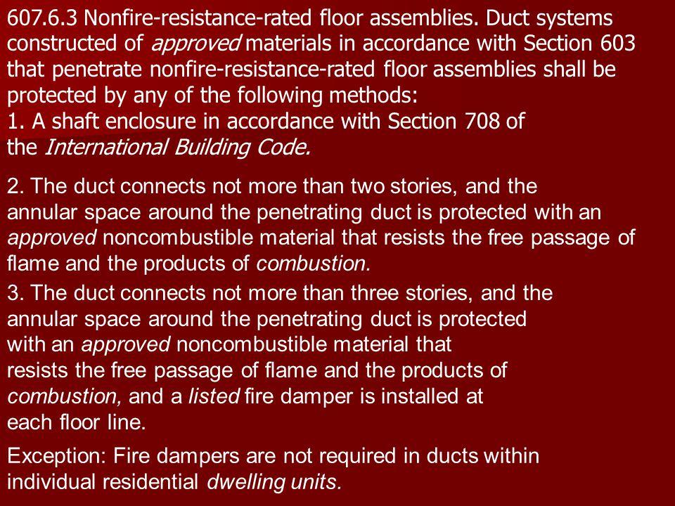 607. 6. 3 Nonfire-resistance-rated floor assemblies