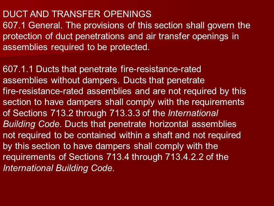 DUCT AND TRANSFER OPENINGS