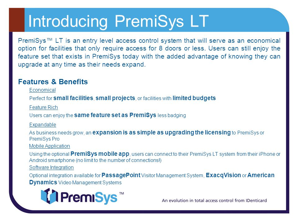 Introducing PremiSys LT