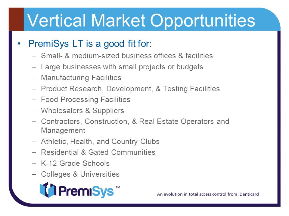 Vertical Market Opportunities
