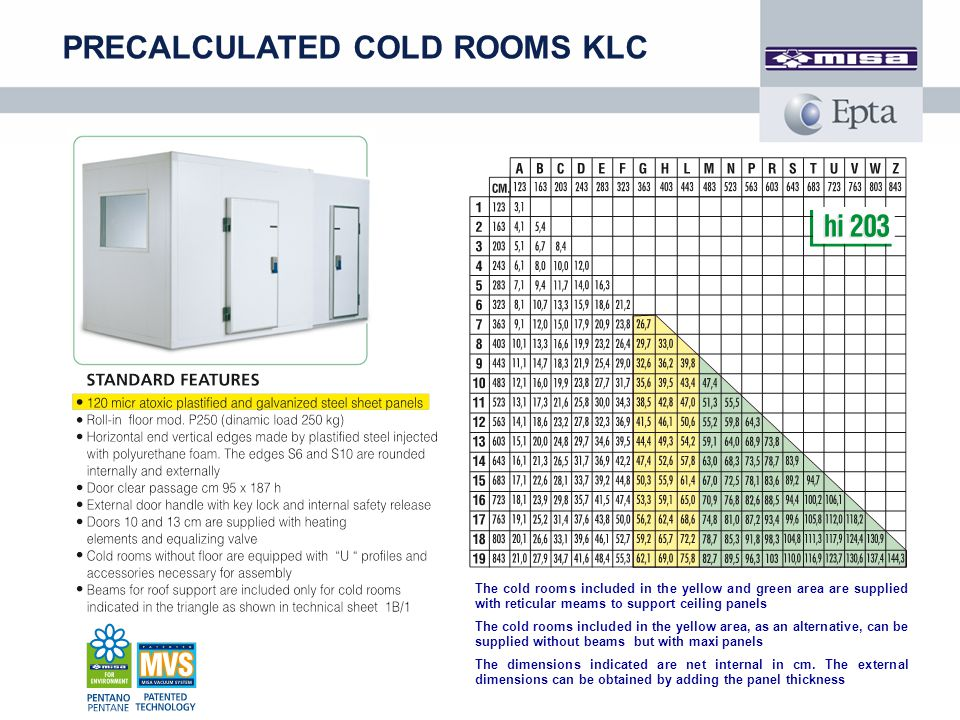 PRECALCULATED COLD ROOMS KLC