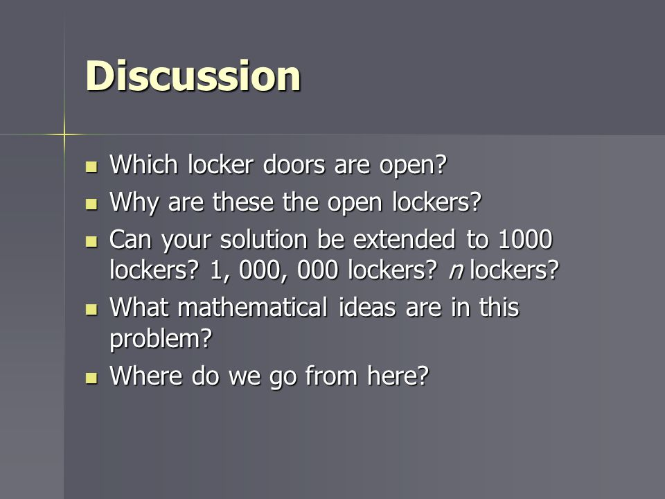 Discussion Which locker doors are open