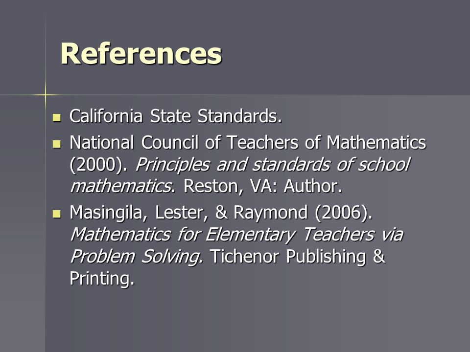 References California State Standards.
