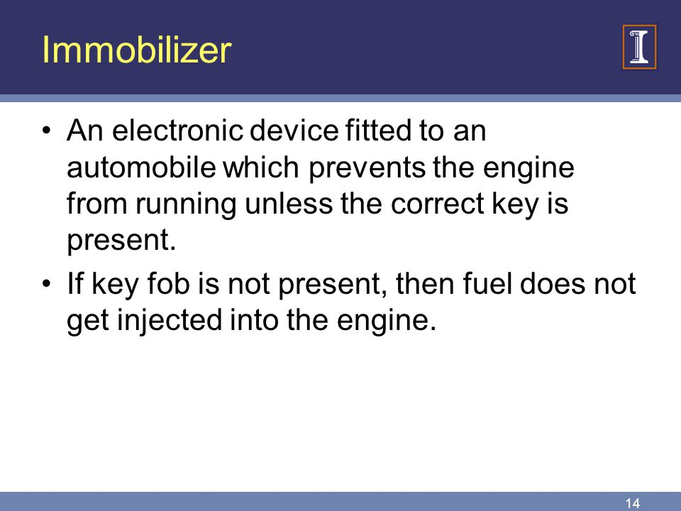 Immobilizer An electronic device fitted to an automobile which prevents the engine from running unless the correct key is present.