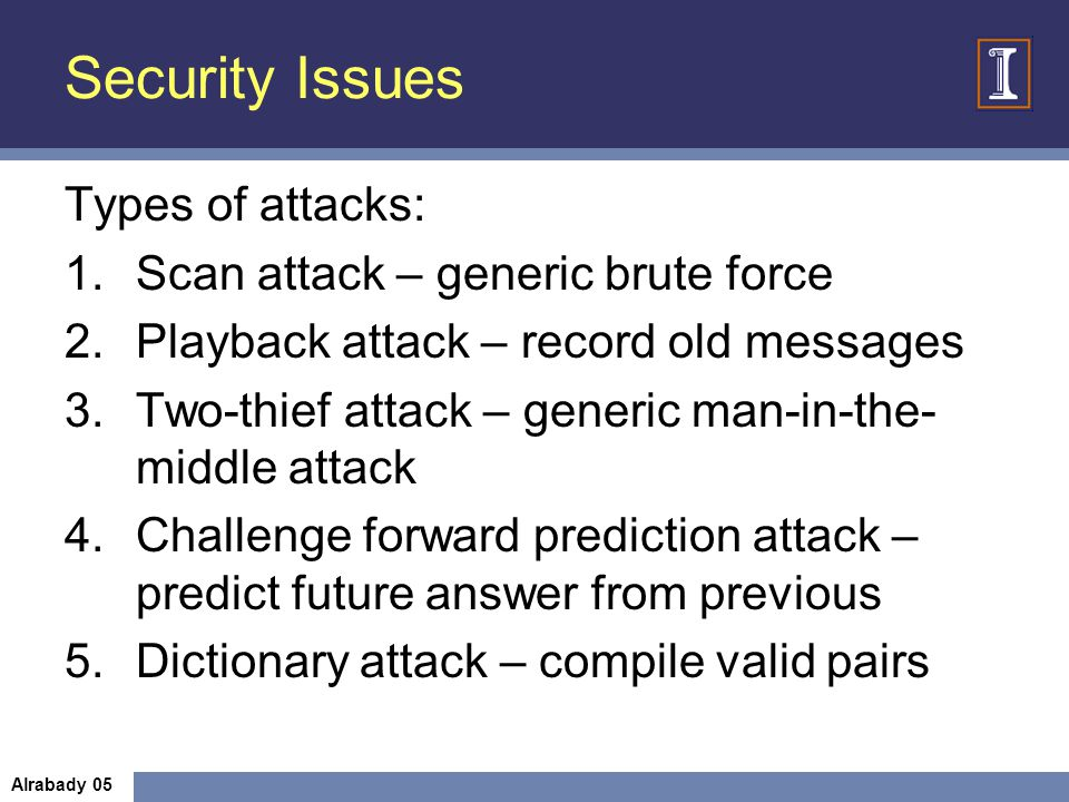 Security Issues Types of attacks: Scan attack – generic brute force