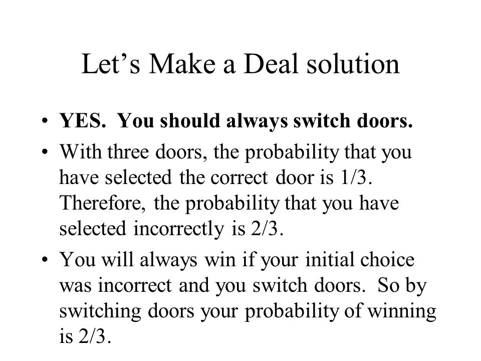 Let's Make a Deal solution