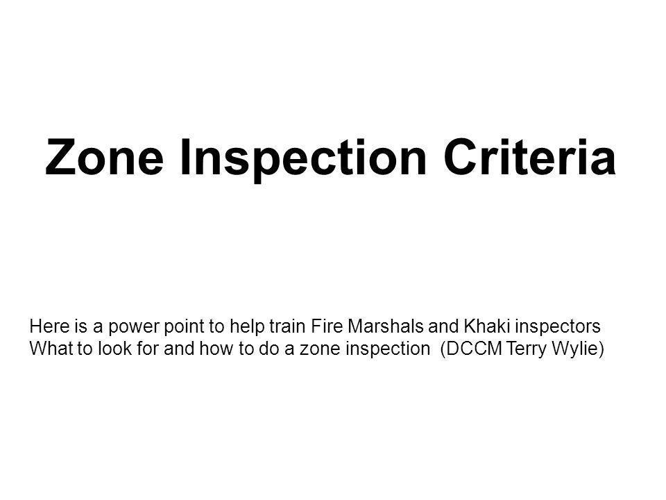 Zone Inspection Criteria