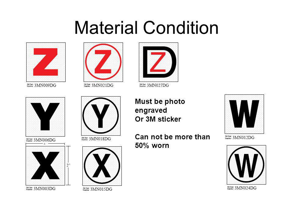 Material Condition Must be photo engraved Or 3M sticker