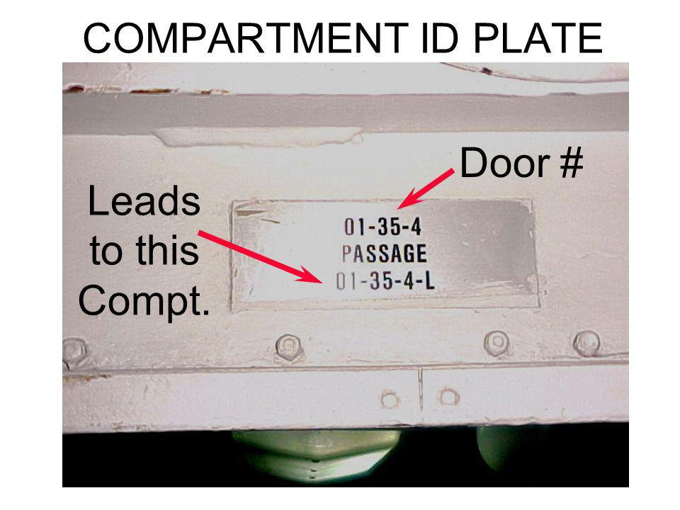COMPARTMENT ID PLATE Door # Leads to this Compt.