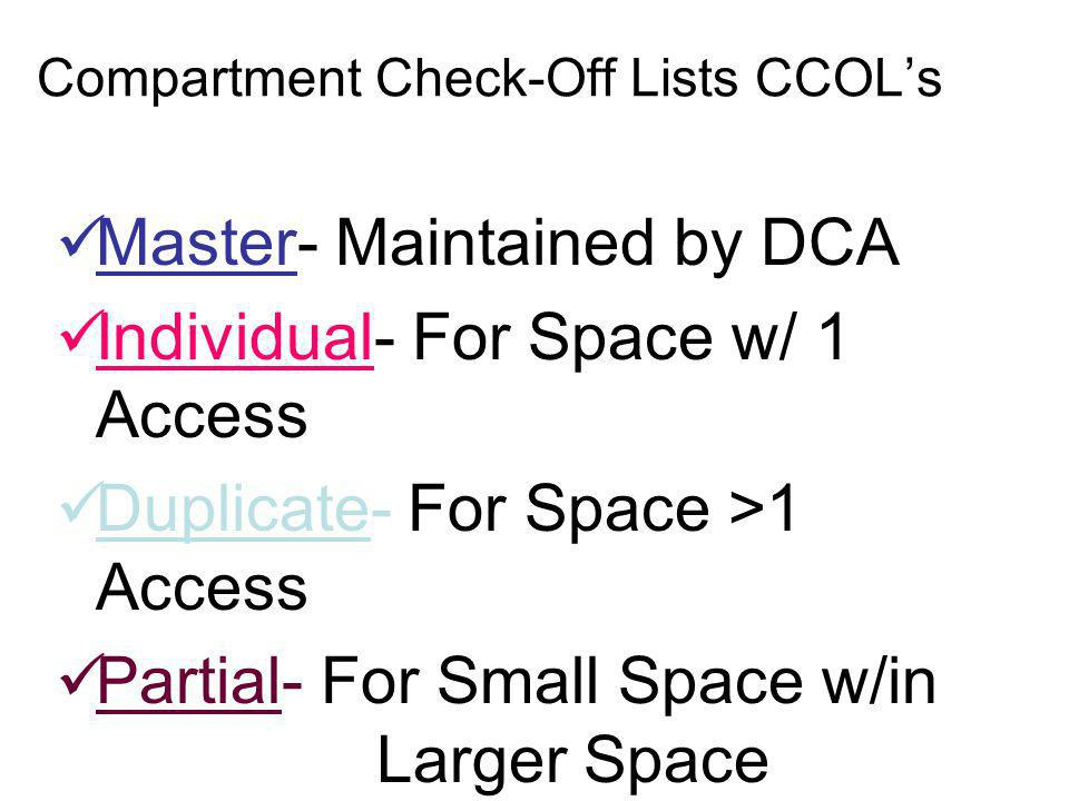 Compartment Check-Off Lists CCOL's