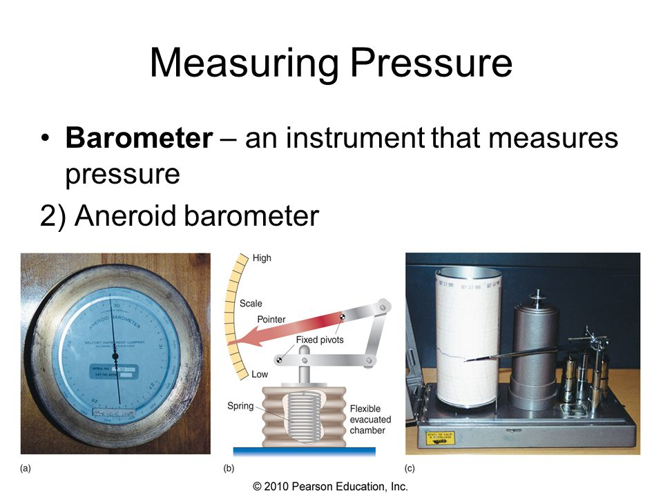 Measuring Pressure Barometer – an instrument that measures pressure