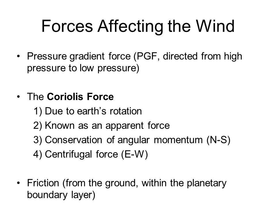 Forces Affecting the Wind