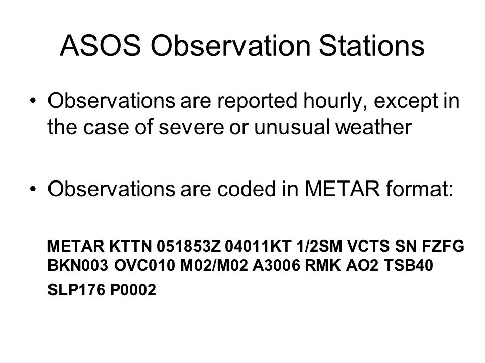 ASOS Observation Stations