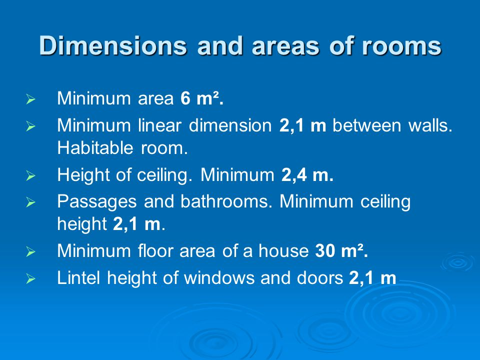 Dimensions and areas of rooms