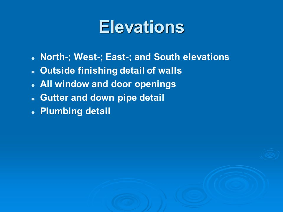 Elevations North-; West-; East-; and South elevations