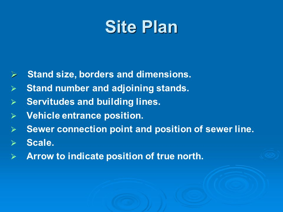 Site Plan Stand size, borders and dimensions.