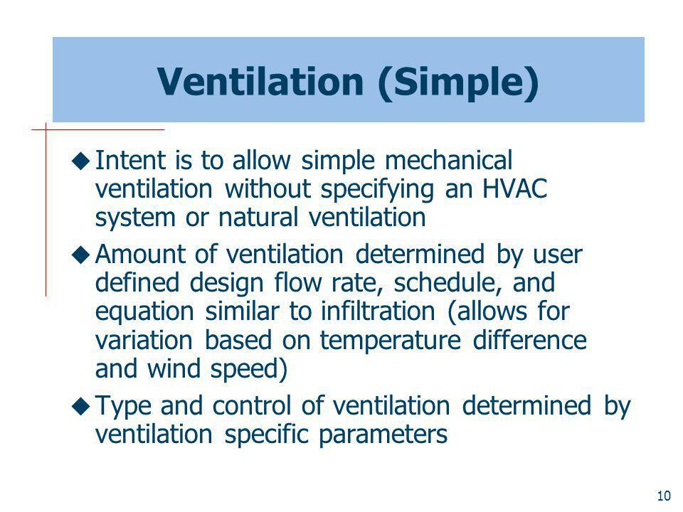 Ventilation (Simple) Intent is to allow simple mechanical ventilation without specifying an HVAC system or natural ventilation.