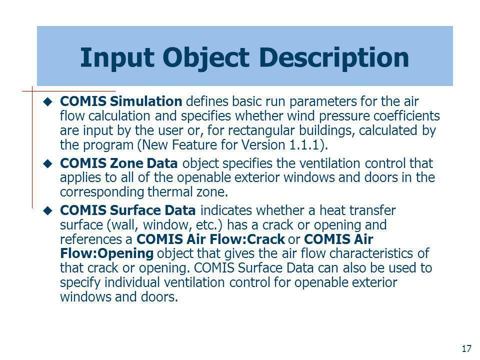 Input Object Description