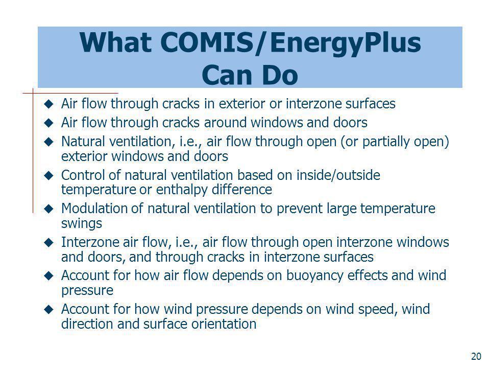 What COMIS/EnergyPlus Can Do