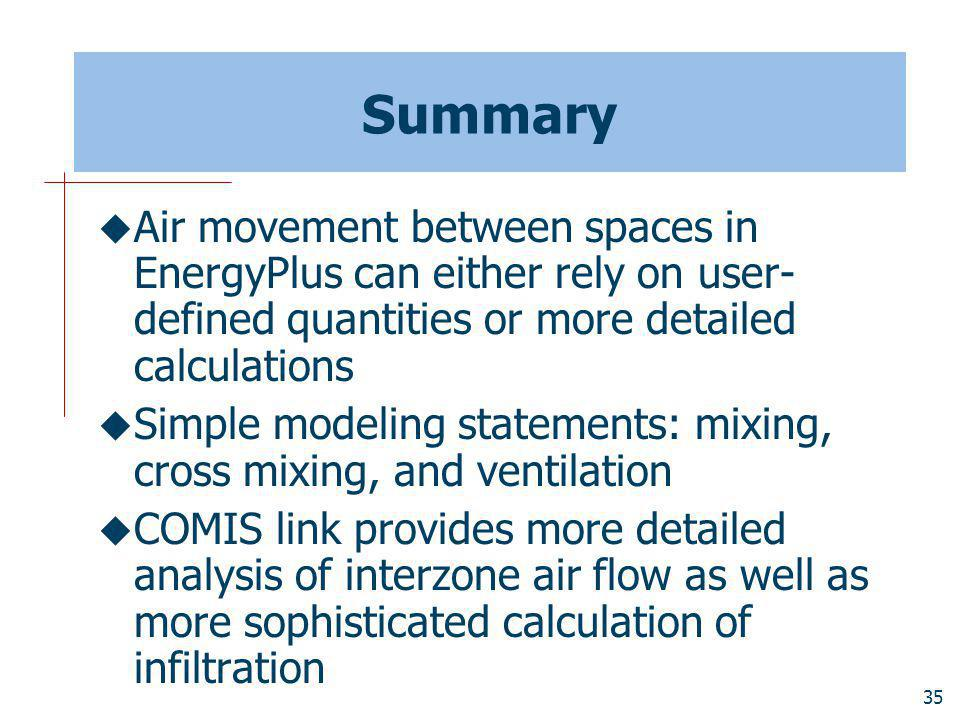 Summary Air movement between spaces in EnergyPlus can either rely on user-defined quantities or more detailed calculations.
