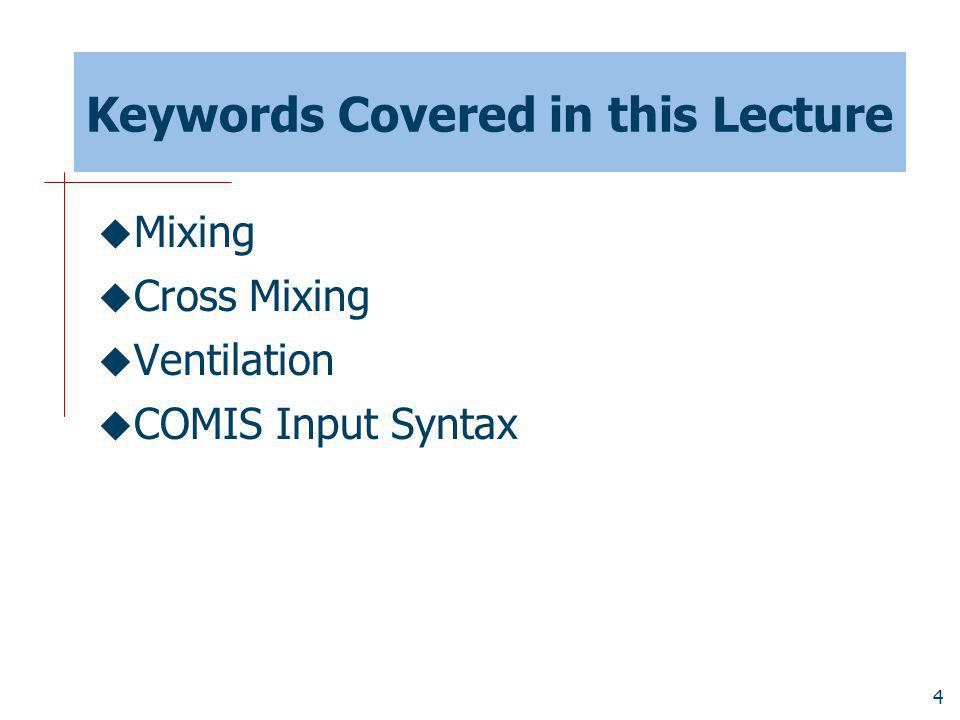 Keywords Covered in this Lecture