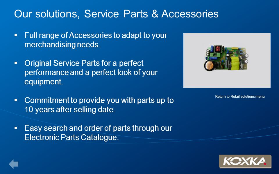 Our solutions, Service Parts & Accessories