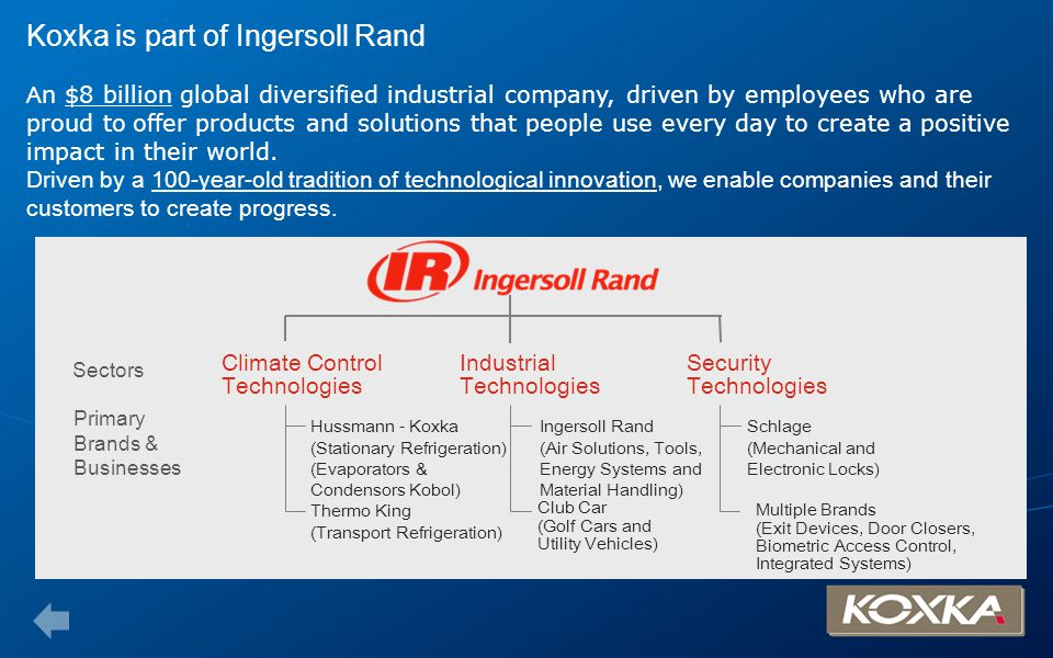 Koxka is part of Ingersoll Rand An $8 billion global diversified industrial company, driven by employees who are proud to offer products and solutions that people use every day to create a positive impact in their world. Driven by a 100-year-old tradition of technological innovation, we enable companies and their customers to create progress.