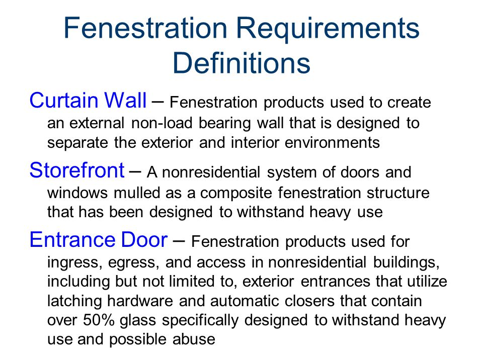 Fenestration Requirements Definitions