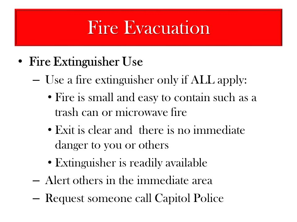 Fire Evacuation Fire Extinguisher Use