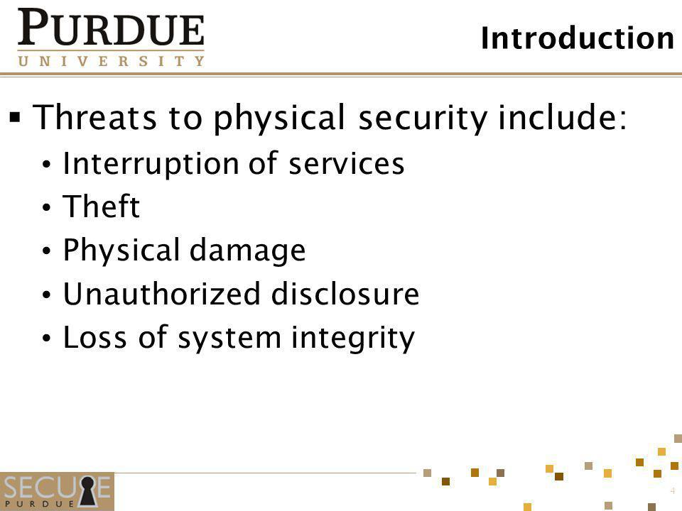 Threats to physical security include: