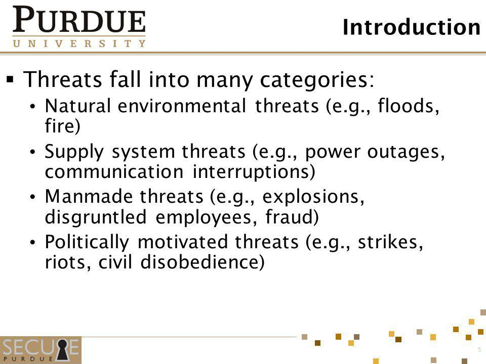 Threats fall into many categories: