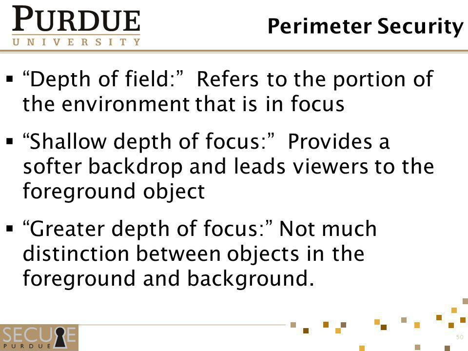 Perimeter Security Depth of field: Refers to the portion of the environment that is in focus.