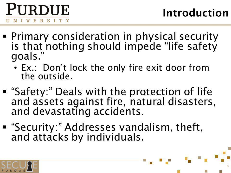 Security: Addresses vandalism, theft, and attacks by individuals.