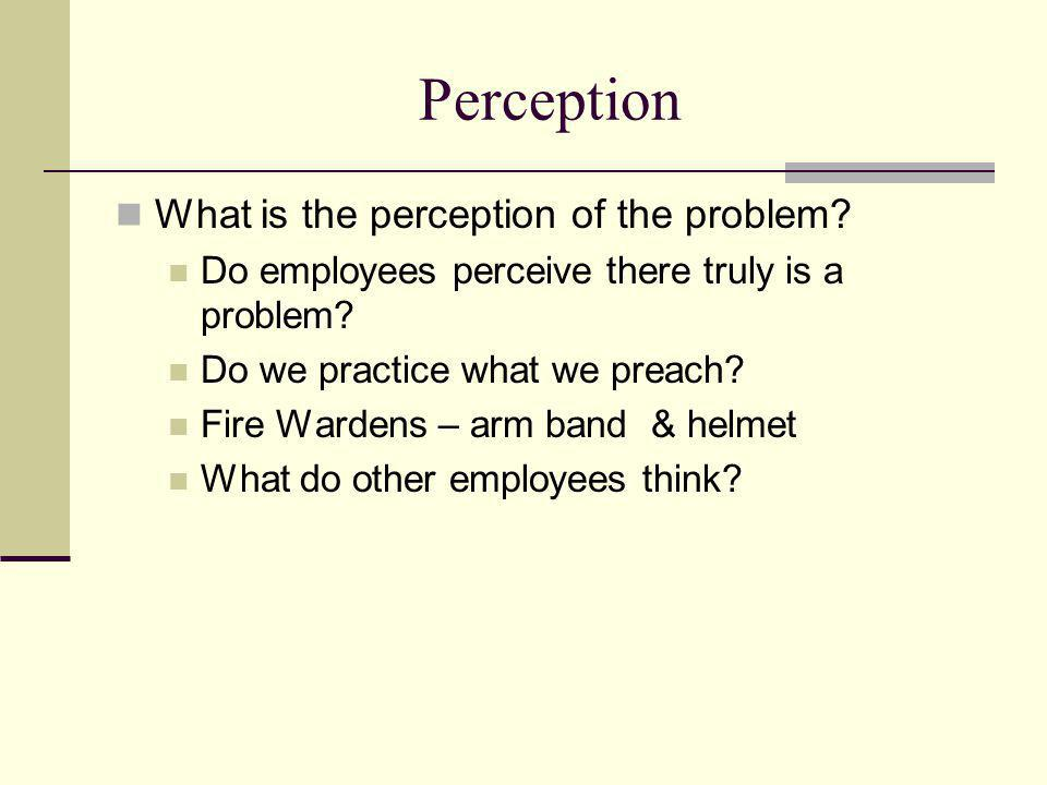 Perception What is the perception of the problem