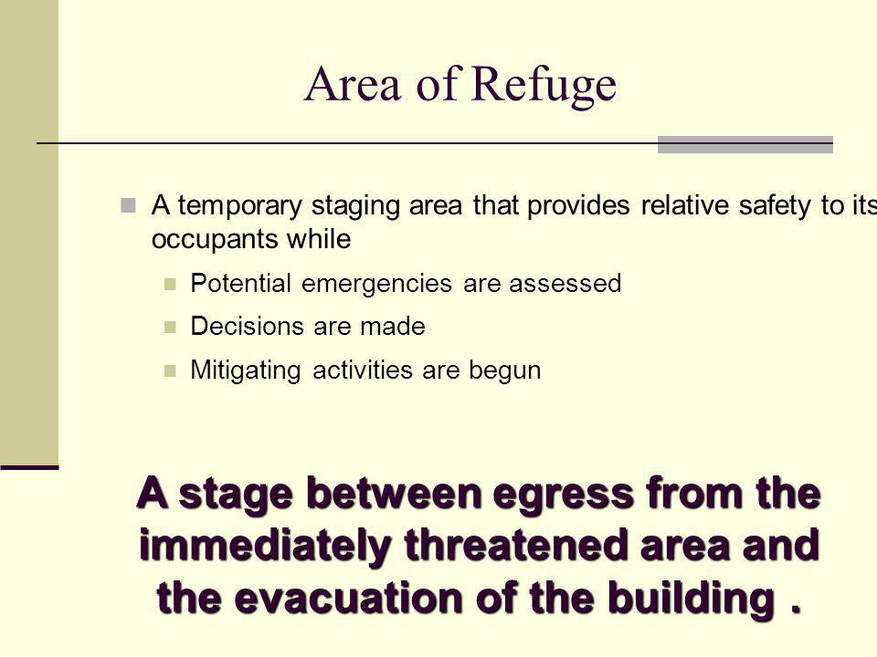 Area of Refuge A temporary staging area that provides relative safety to its occupants while. Potential emergencies are assessed.